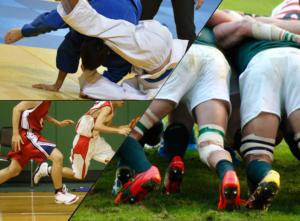 ラグビーとサッカーと柔道の合成写真